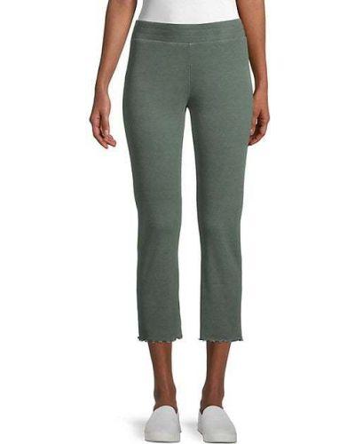 Хлопковые зеленые укороченные брюки с манжетами Wildfox