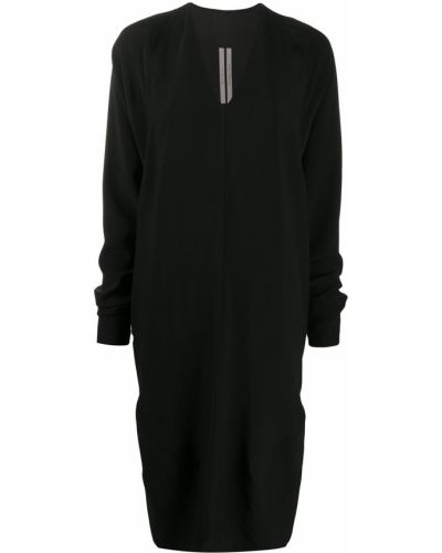 Черное платье оверсайз с V-образным вырезом с драпировкой Rick Owens