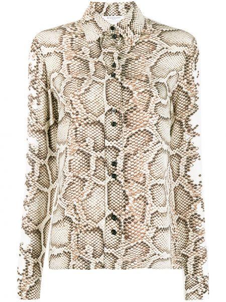 Biała koszula z długimi rękawami z jedwabiu Givenchy
