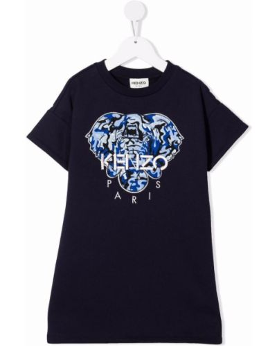 Niebieska sukienka z haftem Kenzo Kids