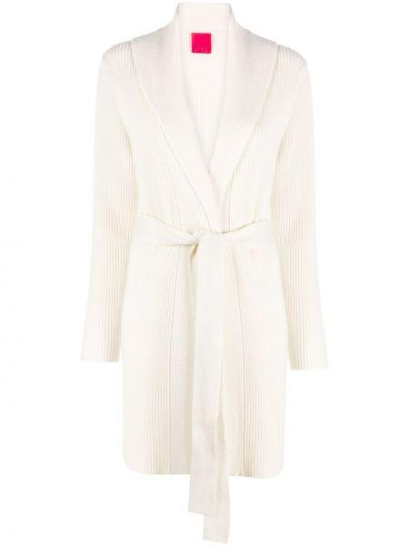 Прямое белое шерстяное длинное пальто в рубчик Cashmere In Love