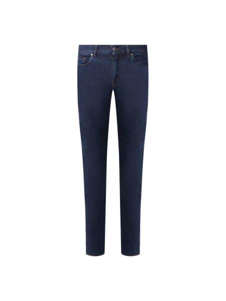 Хлопковые синие прямые джинсы для офиса с жемчугом Ermenegildo Zegna