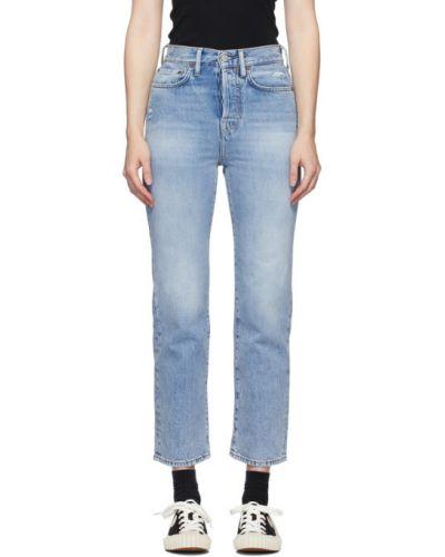 Skórzany różowy jeansy do kostek z łatami z kieszeniami Acne Studios