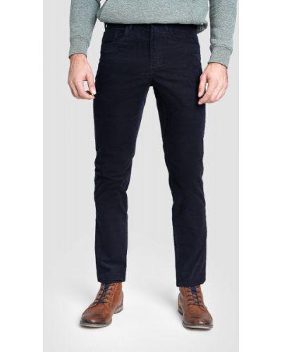 Синие брюки вельветовые с накладными карманами Ostin