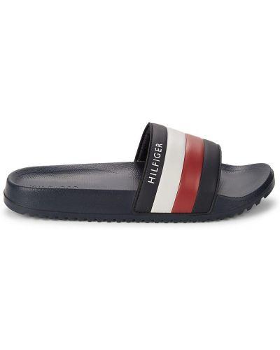 Białe sandały na platformie w paski Tommy Hilfiger