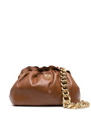 Коричневая кожаная сумка на плечо на молнии Pinko
