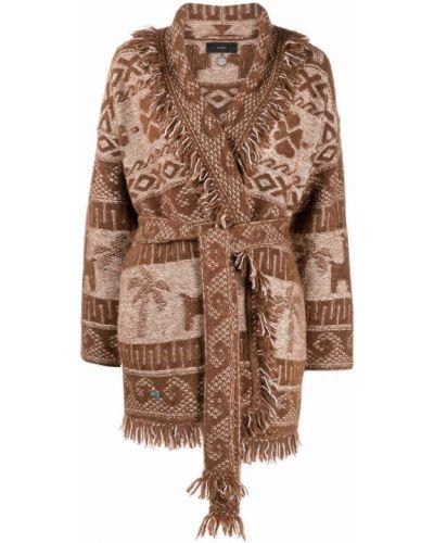 Коричневое шерстяное пальто Alanui