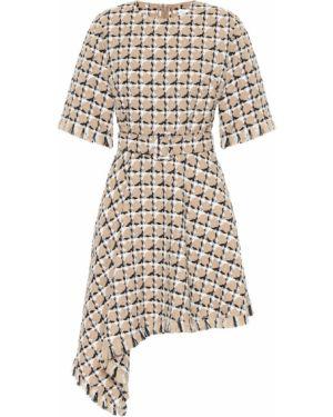 Асимметричное платье мини в рубчик Oscar De La Renta