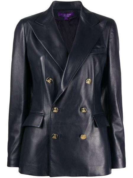 Синий кожаный удлиненный пиджак двубортный Ralph Lauren