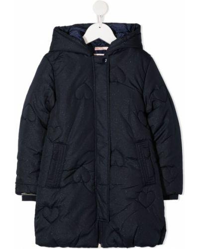С рукавами классическое стеганое синее стеганое пальто Billieblush