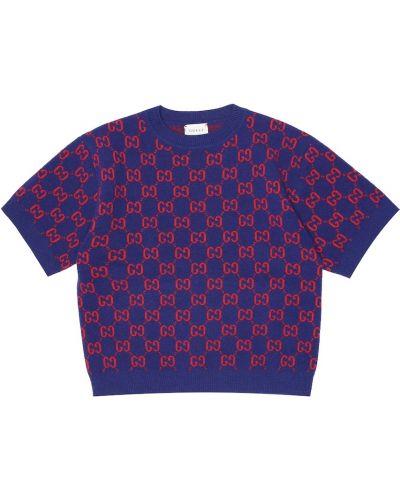 Niebieski bawełna wełniany top Gucci Kids