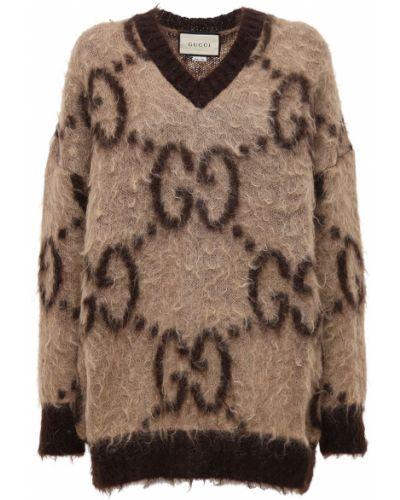 Sweter z kołnierzem z dekoltem w szpic z mankietami z moheru Gucci