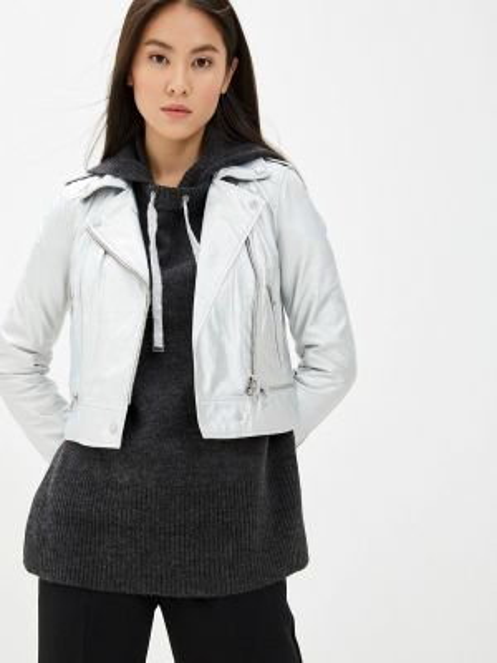 Кожаная серебряная кожаная куртка Oakwood