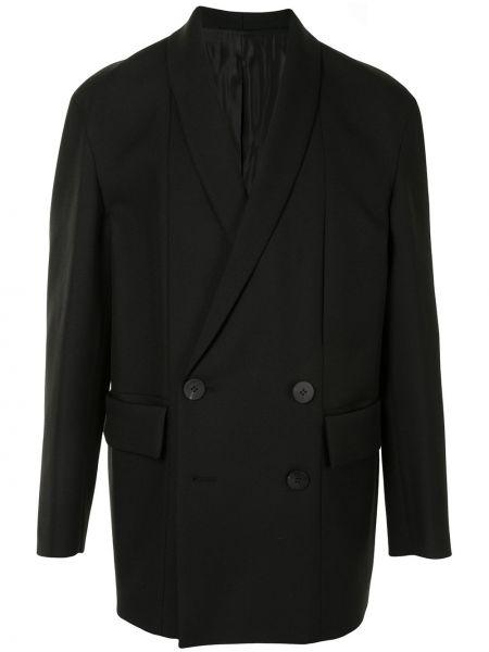 Черный пиджак на пуговицах с лацканами с подкладкой Wooyoungmi