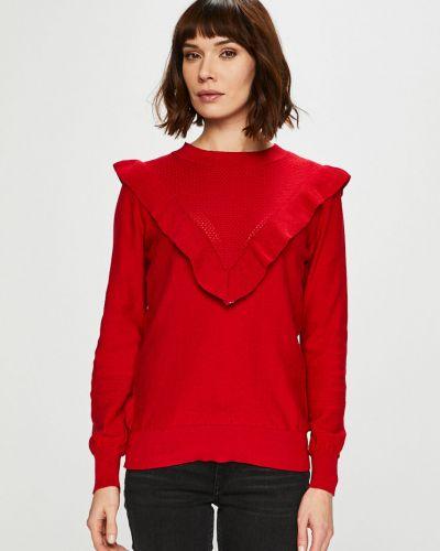 Свитер с рюшами красный Trendyol