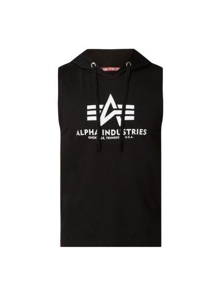 Bawełna bawełna czarny top z kapturem Alpha Industries