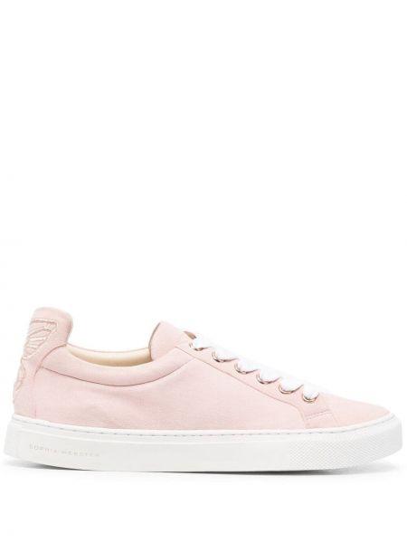 Розовые кожаные кроссовки на шнурках Sophia Webster