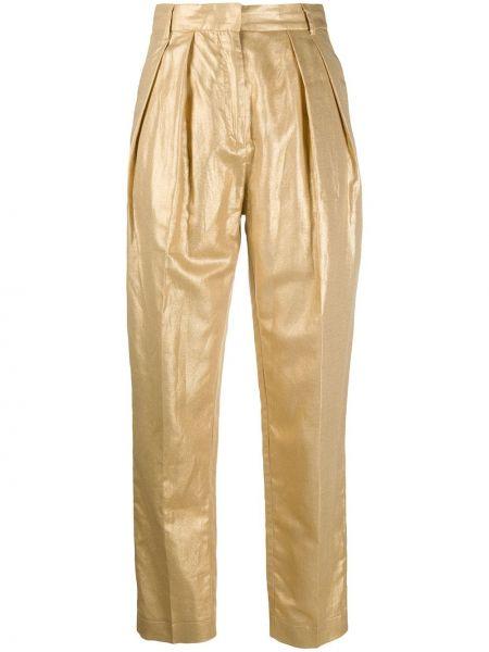Золотистые хлопковые брюки золотые с высокой посадкой Nude
