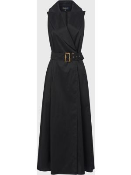 Черное платье с поясом на пуговицах Luisa Spagnoli