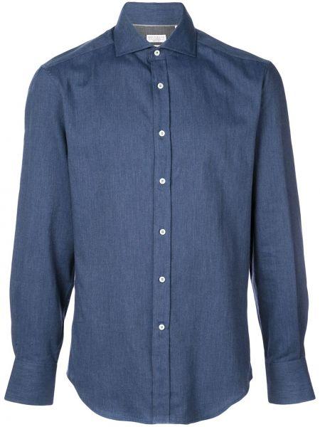 Koszula z długim rękawem dżinsowa długa Brunello Cucinelli