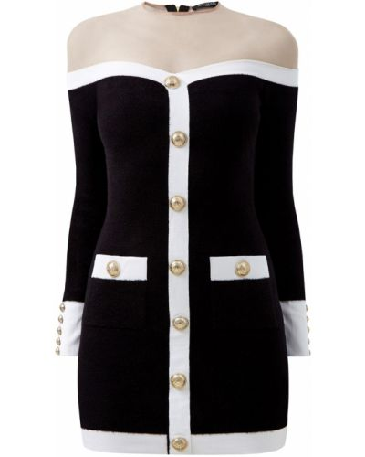 Платье на молнии черно-белое Balmain