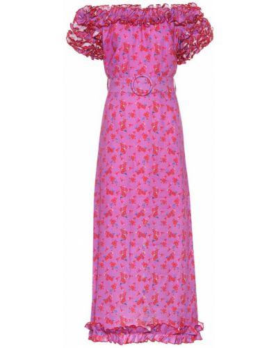 Фиолетовое льняное летнее платье Gül Hürgel