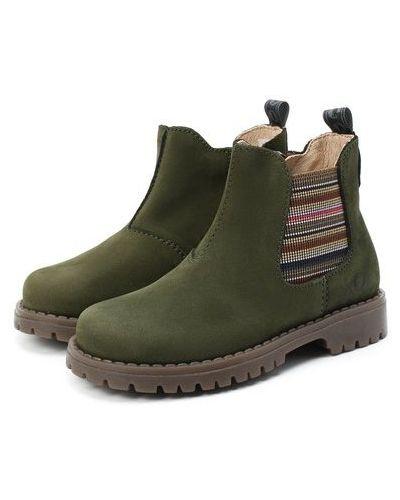 Зеленые кожаные ботинки челси для бега Walkey