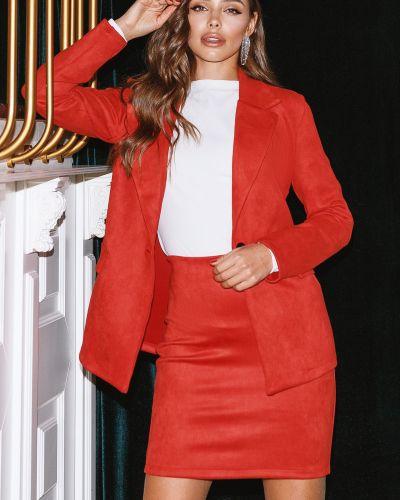 Замшевый костюм - красный Le Katrin