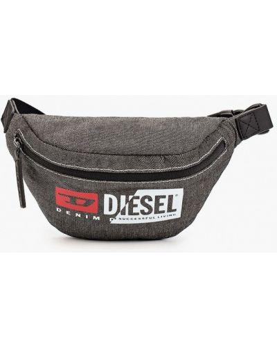 Текстильная серая поясная сумка Diesel