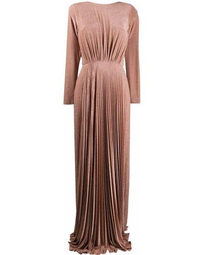 Открытое розовое вечернее платье с открытой спиной из вискозы Elisabetta Franchi