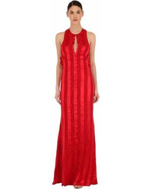 Satynowa sukienka długa koronkowa bez rękawów Sandra Mansour