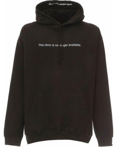 Prążkowana czarna bluza kangurka z kapturem Famt - Fuck Art Make Tees