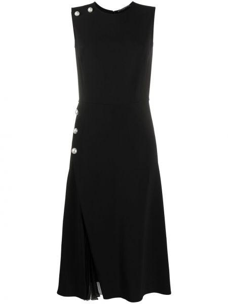 Черное платье с запахом без рукавов с вырезом Ermanno Scervino