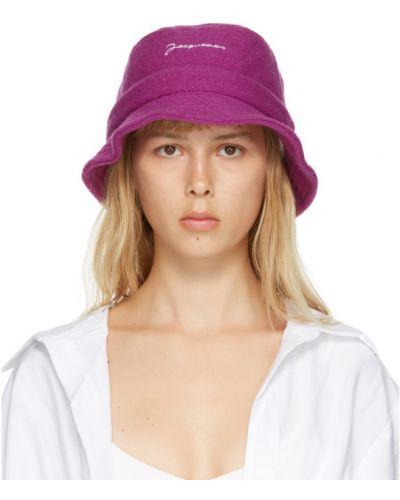Wełniany różowy kapelusz prążkowany z haftem Jacquemus
