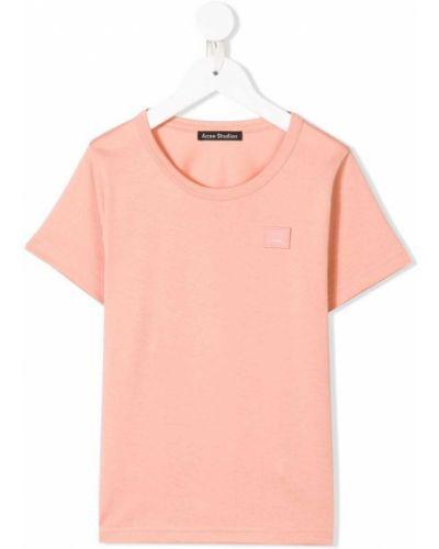 Хлопковая розовая футболка с короткими рукавами с круглым вырезом Acne Studios Kids