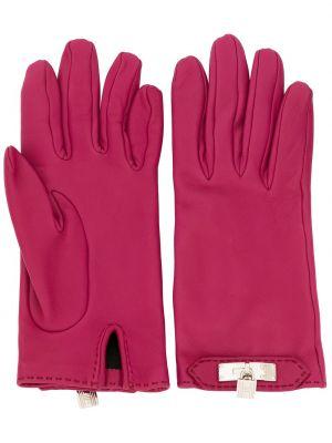 Фиолетовые кожаные перчатки винтажные Hermes