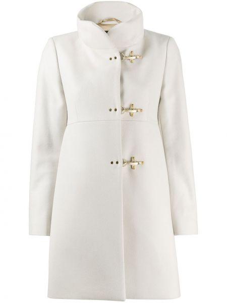 Белое шерстяное прямое длинное пальто с подкладкой Fay