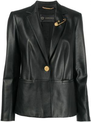 Черный кожаный пиджак с воротником Versace
