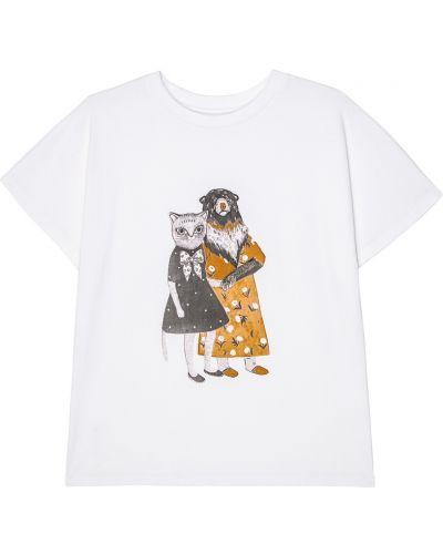 Хлопковая футболка - белая Alena Akhmadullina