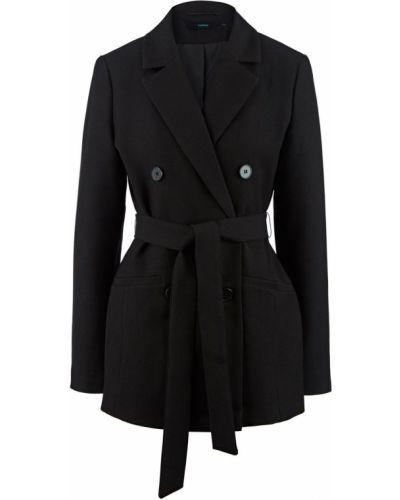 Черный пиджак с поясом двубортный Befree