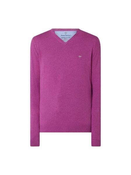 Prążkowany fioletowy sweter bawełniany Fynch-hatton