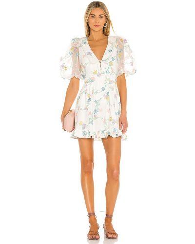 Льняное бежевое платье мини с подкладкой For Love & Lemons