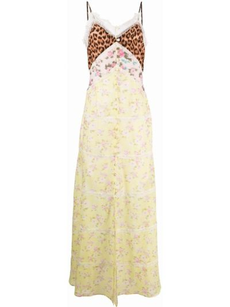 Желтое шелковое платье макси с вырезом Blumarine