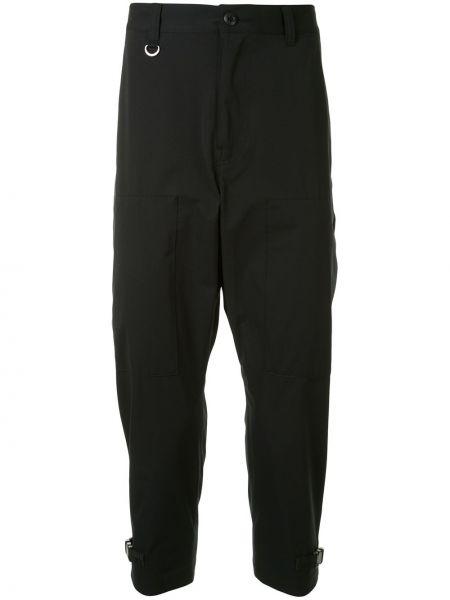Черные укороченные брюки с поясом пэчворк с пряжкой Sophnet.