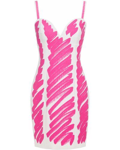 Розовое платье мини с чашками стрейч Moschino