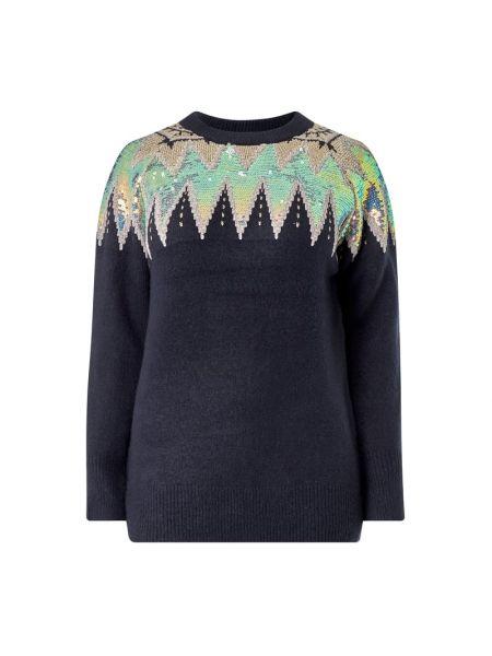 Prążkowany niebieski sweter z cekinami Junarose