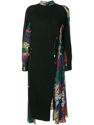 Шерстяное платье миди - черное Sacai