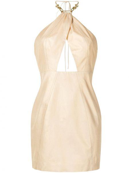 Шелковое прямое платье на молнии с вырезом Manning Cartell