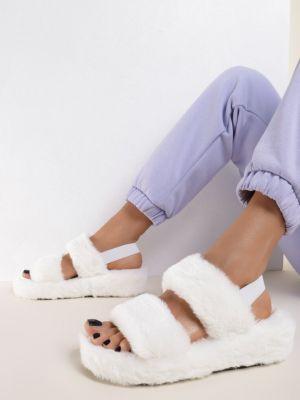 Białe kapcie materiałowe Renee
