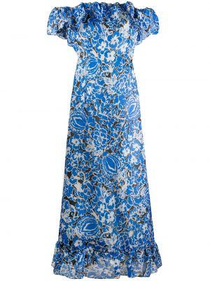 Синее шелковое платье мини с открытой спиной с оборками Givenchy Pre-owned